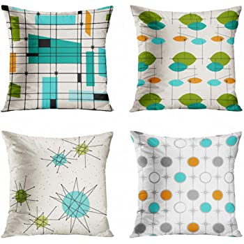 Throw Pillow Cover TEAL Mid Retro Grid /& ORANGE Century Decorative Case Home Dec