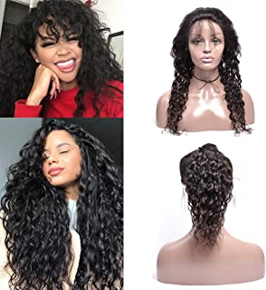 Brazilian Water Wave 360 Lace Frontal Closure Preplucked With Baby Hair Bleached Knots Natural Hairline Wet And Wavy Lace Closure 360 Unprocessed Virgin Human Hair Extensions Natural Black(12inch)