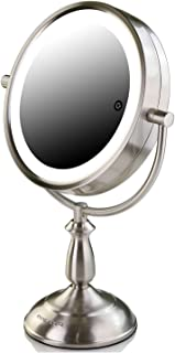 Ovente Battery Operated or AC adapter SmartTouch Cool, Warm, Daylight LED Lighted Mirror, Tabletop Vanity Mirror, 1x/10x Magnification, 7.5 inch, Nickel Brushed (MPT75BR1x10x)