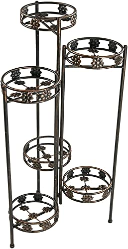 wholesale Sunnydaze 6 Tiered Plant Stand - Indoor or Outdoor Plant Holder with Sturdy Metal discount & Decorative Folding Design - for Garden, Patio, or Inside The Home - 45 Inch sale Tall online sale