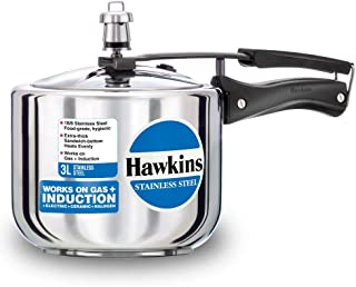 Hawkins Stainless Steel Induction Compatible Pressure Cooker (Tall), 3 Litre, Silver (HSS3T)