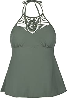 Women's Macrame Swimsuit Tops High Neck Tankini Swimwear Halter Bathing Suit Top