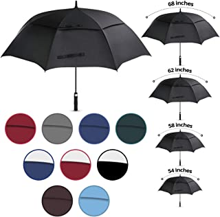 Viteps Large Golf Umbrella | Big Golfing Umbrella for Wind and Rain | Double Canopy Wind and Waterproof Design | Durable Fiberglass Design | Strongest Umbrella (Black, 1 Pack, 62