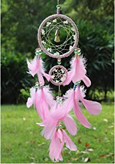 Dremisland Dreamcatcher Pink Dream Catchers Handmade Dream Catchers Wall Hanging Net with Feathers Room Decoration Ornament (Pink)
