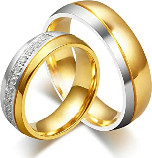 Jewelry His and Her for Titanium 18K Gold-Plated Wedding Engagement Band Couple Ring Top Ring 6mm