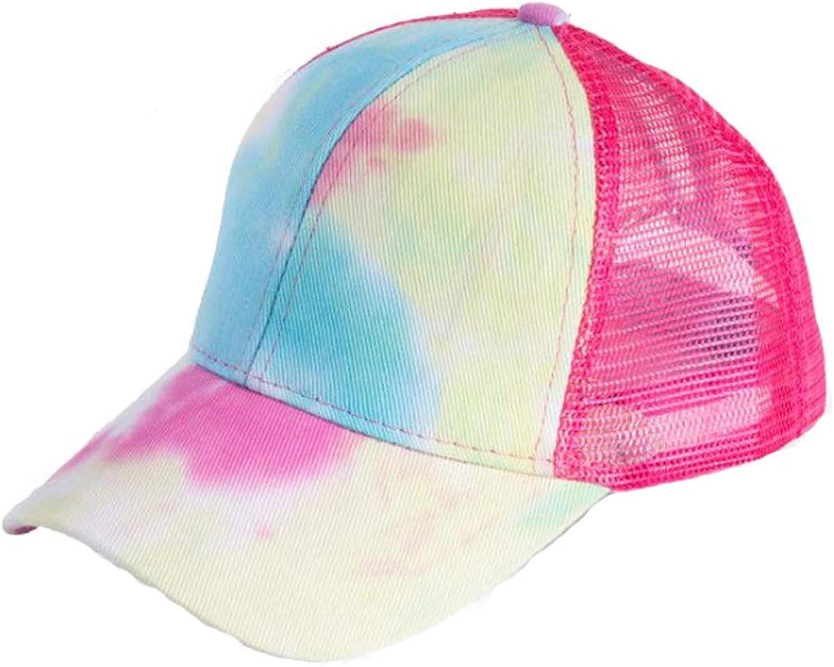 LOKIDVE Women's Popular product Super sale Tie Dye Ponytail Mesh Hat Messy High Trucker Bun