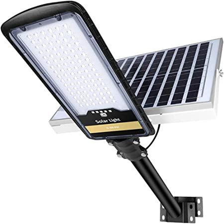 ENGREPO Solar Street Lights Outdoor Basketball Court Garden Street 80 Watts Security Flood Light Auto On//Off Dusk to Dawn with Remote Control for Yard