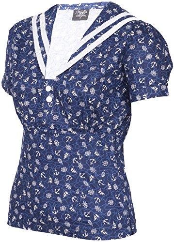 Küstenluder IRIS Sailor ANCHOR Matrosen Collar BLUSE Oberteil Rockabilly - 4