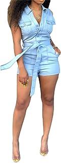 LROSEY Women's Sexy Off Shoulder Denim Jumpsuits Solid Wide Leg Long Romper Pants with Pockets Plus Size - Beige - XX-Large