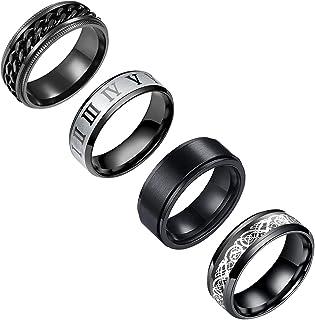 حلقه عروسی yfstyle 4PCS برای مردان حلقه های استیل ضد زنگ برای مردان حلقه عروسی حلقه های اسپینر سرد مردانه حلقه حلقه سیاه استیل حلقه اضطراب فیجت سایز 6-12