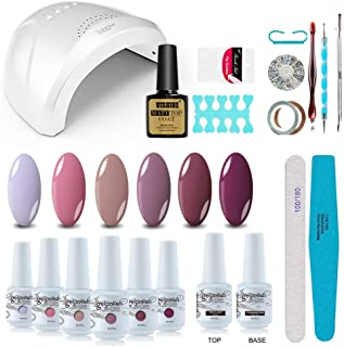 Vishine Gel Nail Polish Starter Kit with 48W SUNOne UV LED Nail Lamp Speed Dryer Manicure Tools 6 Pretty Colors Gel Polish Base and Top Coat #03