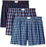 Tommy Hilfiger Men's Underwear 3 Pack Cotton Classics Woven Boxers, Red Plaid Logo