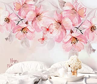 Murwall Boho Floral Wallpaper Cherry Blossom Wall Mural Pink Flower Bouqet Wall Print Chinese Home Decor Cafe Design