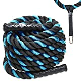 Heavy Ropes for Exercise Training- 1.5'/2' 30' 40' 50' Lengths- Heavy Duty Polyester- Waterproof Grip Ends- Wear Resistant Thick Crossfit Battle Rope- Best Fitness Workout for Cardio/ Conditioning