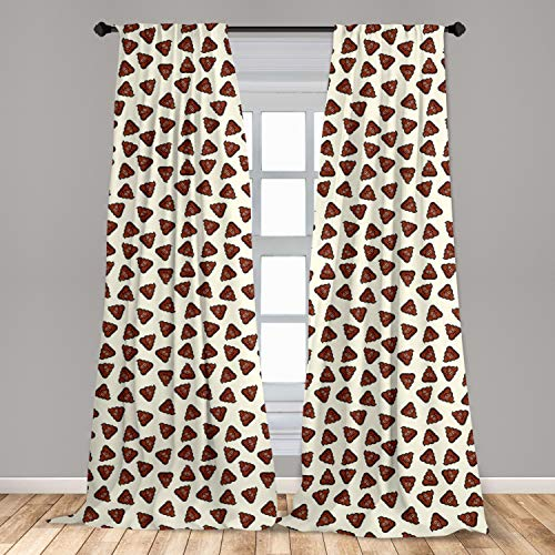 Ambesonne Poop Emoji Window Curtain, Continuous Style Humorous Cartoon Design Illustration of Funny Elements, Lightweight Decorative Panels Set of 2 with Rod Pocket, 56 x 84, Ivory Rust