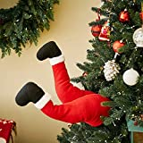 OTentW Christmas Santa and Elf Legs,Plush Stuffed Feet with Shoes, Stuck in Christmas Tree Decor Decorative Stuffed Santa Legs Ornament for Christmas Tree Front Door Decorations