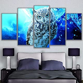 TACBZ Imagen De Arte De Pared 5 Piezas Impresiones En Lienzo Sala De Estar Mural Mural Decoración del Hogar Imagen 5 Imágenes De Búho Azul Impresiones En HD Decoración Familiar Cartel De A