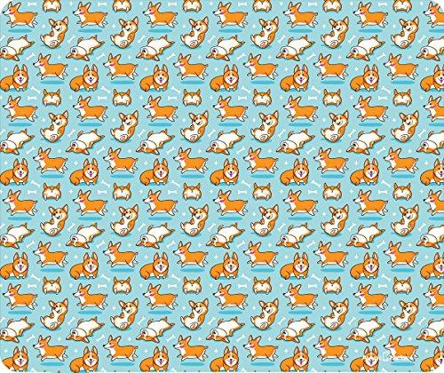 Playful Corgi Pattern On Blue Thick Mouse Pad by Atomic Market