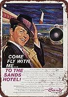 Shimaier 壁の装飾 メタルサイン 1961 Frank Sinatra for the Sands Hotel Las Vegas ウォールアート バー カフェ 縦20×横30cm ヴィンテージ風 メタルプレート ブリキ 看板