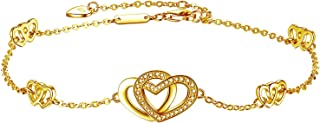DESIMTION Womens 925 Sterling Silver Heart Love Anklet Bracelet Adjustable Large Bracelet, for Women Girls