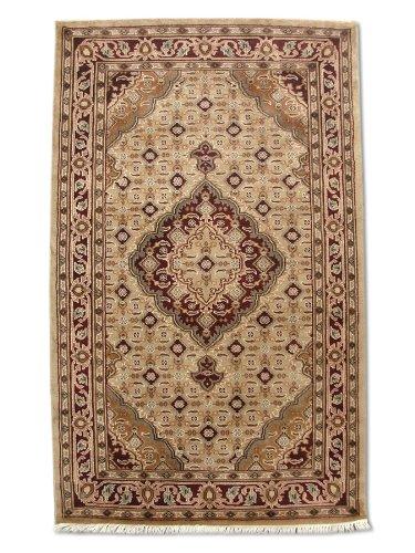Tappeto tradizionale persiano fatto a mano Tabriz, lana/arte, seta (Highlights), marrone chiaro, piccolo, 93 x 150 cm, 93 x 150 cm