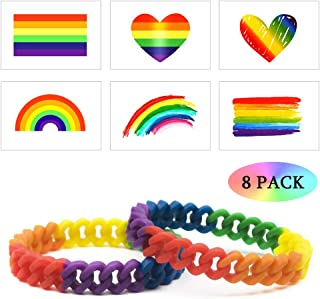 Aster Rainbow Silicone Bracelet 2 Pack LGBT Gay Pride Jewelry with 6 Pcs Lovewins Tattoos Sticker for Woman Man Pride Month Parade