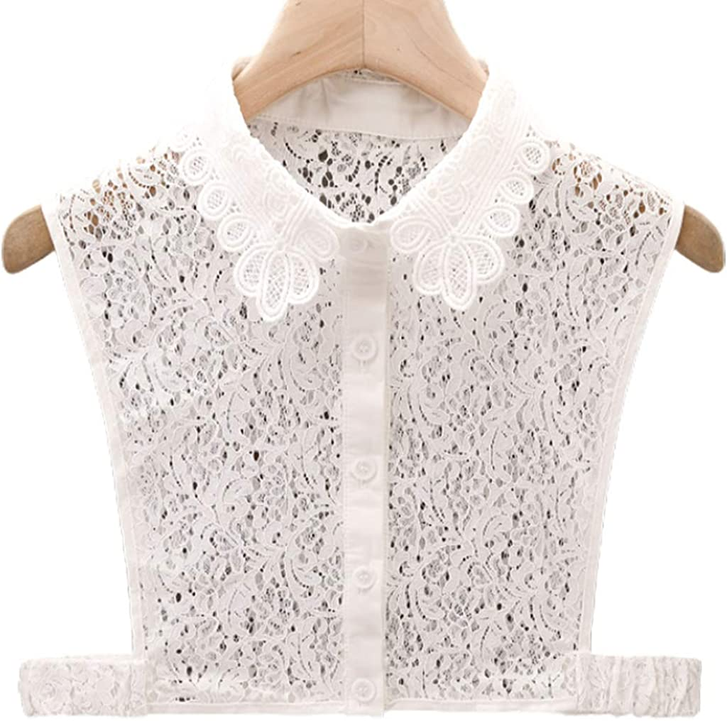 YOUSIKE Detachable Blouse, Women Girls Detachable Half Shirt Dickey Blouse Hollow Out Floral Lace Elegant Fake Collar Autumn Sweater Decorative Apparel Accessory