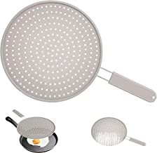 INYOU Silicone Splatter Screen for Frying Pan 13 inch Multi Use Splatter Guard Shield w 8in Handle Drain Board and Water Strainer Oil Splatter Guard Fry Splash Guard Cooling Mat