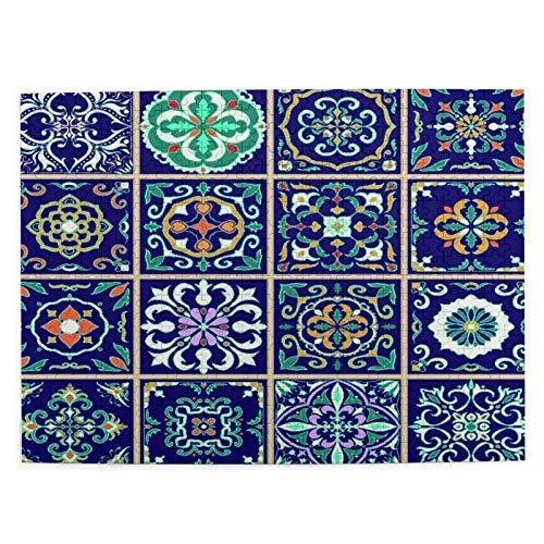 Rompecabezas con Imágenes 500 Piezas,Conjunto de azulejos portugueses,azulejo,talavera,adornos marroquíes,Educativo Juego Familiar Arte de Pared Regalo para Adultos,Adolescentes,Niños,20.4' x 15'