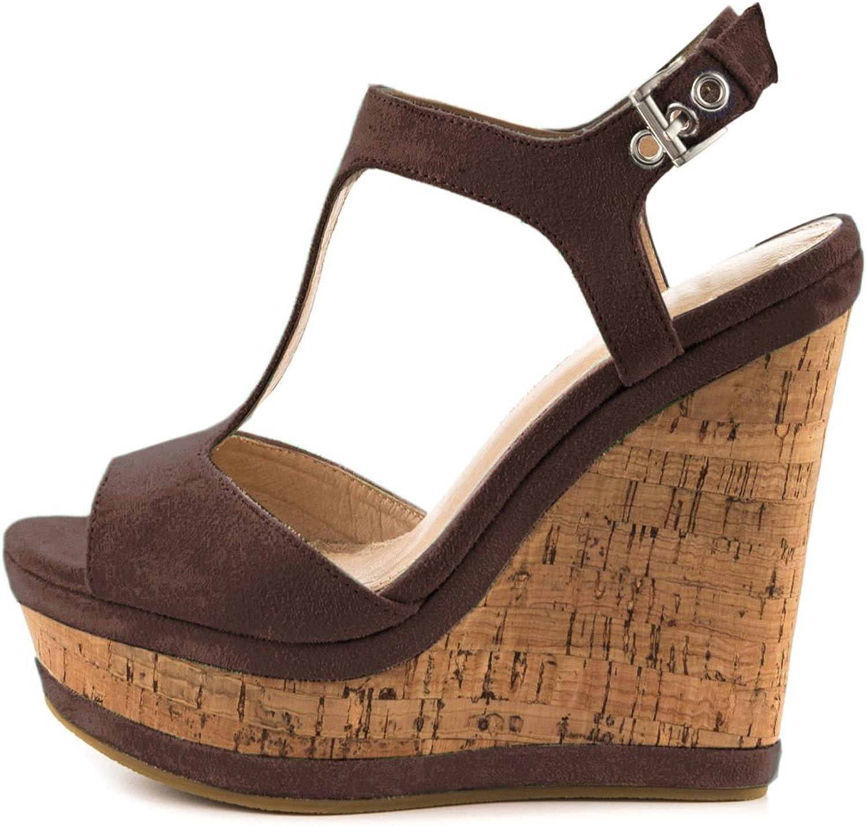 MERUMOTE Women's Y-211 Open Toe T-Strap High Heeled Wedges Sandals Platform Heels shoes Size 5.5-15