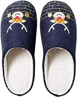 Fascigirl Winter Slippers Non Slip Sole Elk Embroidery Warm Indoor Slippers House Slippers for Women