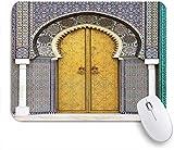 GLONLY Puerta Dorada del Palacio Real en Fez Marruecos Vintage Imagen de Arte marroquí,Alfombrilla Raton Alfombrilla Gaming Alfombrilla para computadora