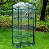 Ewer Mini Greenhouse Cover Replacement, 4 Tier Outdoor Portable Transparent PVC Hot House Cover with Zippered Cover (Without Iron Stand)