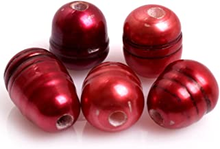 Gem-inside 10-11MM Red Cultured Freshwater Pearl 2MM Big Hole Loose Beads for Jewelry Making 10PCS