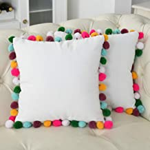 Rainbow Pom Poms Pillows White Throw Pillow Cover Cushion Pillow Case Decorative Corduroy Pillowcase for Couch Bed Sofa Home Car 16 X 16,Pack of 2
