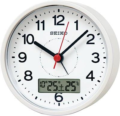 セイコークロック 置き時計 白パール塗装 本体サイズ:99×99×56mm KR333W