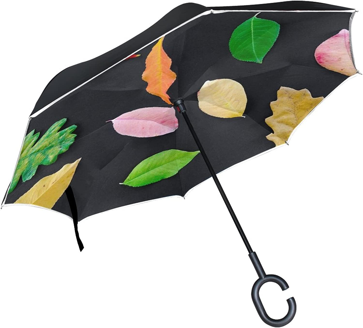 Double Layer Ingreened Autumn orange Nature Red Yellow Fall Maple color Umbrellas Reverse Folding Umbrella Windproof Uv Predection Big Straight Umbrella for Car Rain Outdoor with CShaped Handle