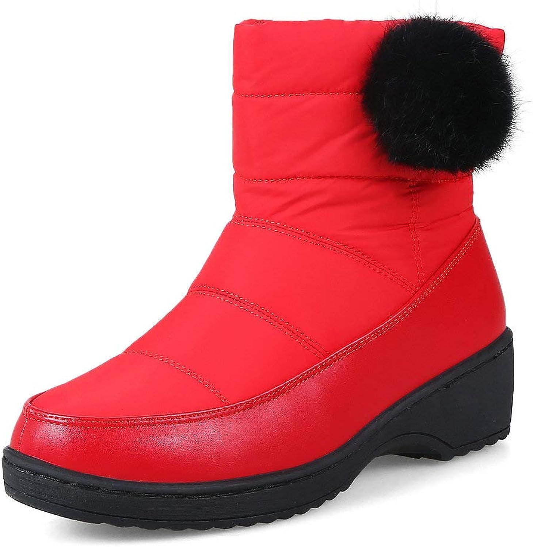 AnMengXinLing Women Ankle-High Snow Boots Wedge Waterproof Outdoor Slip On Winter Low Heel Short Booties