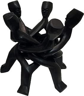 Five-head African Unity Wood Carving Black - Handmade in Ghana