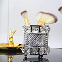 Portacepillos de maquillaje de cristal europeo, caja de almacenamiento de cosméticos dorados, porta bolígrafos de escritorio, decoración de escritorio, tanque de almacenamiento doméstico, plata