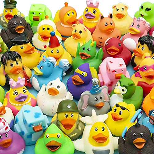 """The Dreidel Company Assortment Rubber Duck Toy Duckies for Kids, Bath Birthday Gifts Baby Showers Classroom Incentives, Summer Beach and Pool Activity, 2"""" (12-Pack)"""