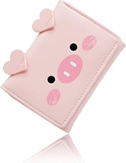 Conisy Ladies Leather Purse Cute Pig Pattern Slim Tri-Fold Little Wallet for Women and girls (Pink)