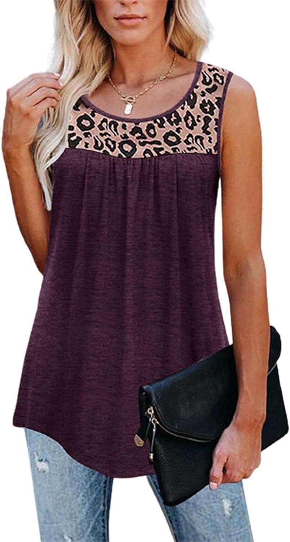 Tank Tops for Women, Women's Summer Shirt Blouse Ruffle Loose Active Casual O-Neck Sleeveless Tunic Shirts