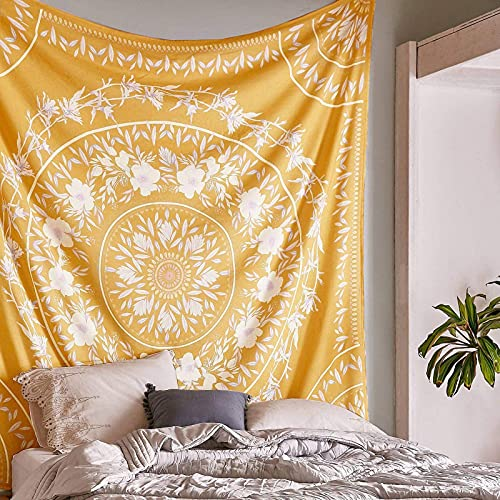 Tapiz de medallón floral con diseño de mandala bohemio, para colgar en la pared, mural de arte indio para dormitorio, sala de estar, dormitorio, decoración del hogar, 122 x 200 cm (amarillo)