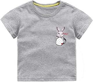 Mornyray Unisex Children Short Sleeve Summer T-shirt Adorable Cartoon Bunny Printing Style Cotton Top Kids Casual Playwear Fashion Wild Boys Sport Bottoming Tee(3-8T)