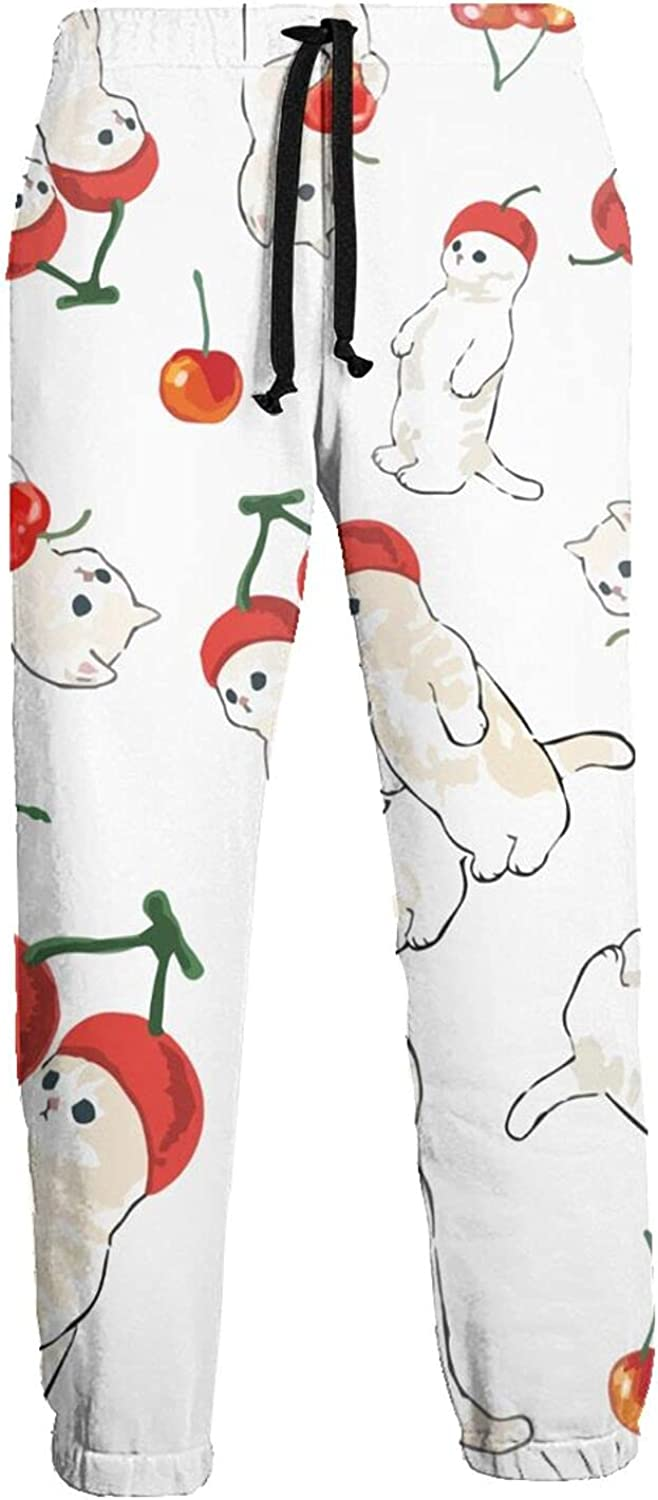 Men's Women's Sweatpants Cute Cats Funny Cherry Hat Athletic Running Pants Workout Jogger Sports Pant