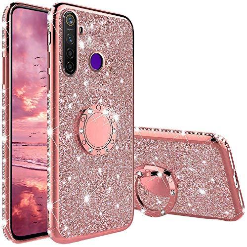 TVVT Glitter Crystal Funda para Realme 5 Pro, Glitter Rhinestone Bling Carcasa Soporte Magnético de 360 Grados Ultrafino Suave Silicona Lujo Brillante Rhinestone - Rosa