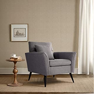 Vonanda Sofa Chair,KD Rolled-Arm single sofa Contemporary Upholstered 34.6 Inch Linen Fabric Arm Sofa for Small Space,Dark Grey