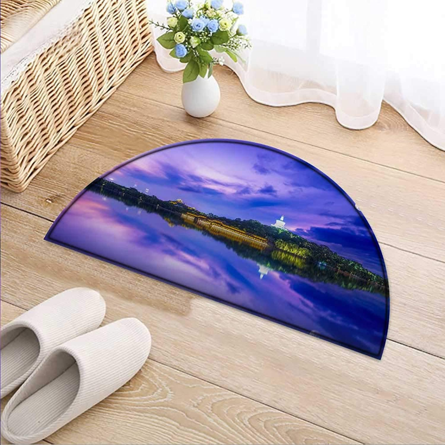 Semicircle Area Rug Carpet The Night Scene Background of The city's Moon Lake Door mat Indoors Bathroom Mats Non Slip W47 x H32 INCH