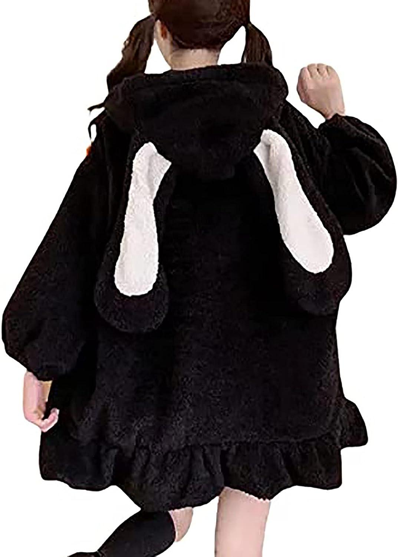 Kawaii Anime Bunny Ear Hoodies for Women Girls Sweet Lovely Fuzzy Fluffy Rabbit Sweater Tops Cosplay Jacket Coats